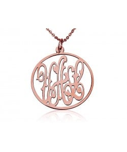 Monogram rose gold plate necklaces circle style
