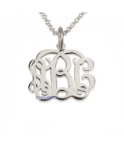 Monogram silver necklace - Up to 3 letters pendant