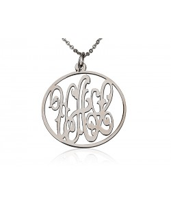 Monogram white gold necklaces in 14k solid gold