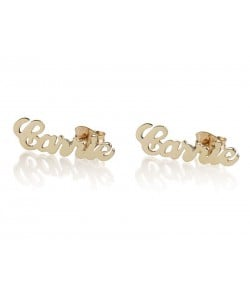 10k Gold Stud Carrie Name Earrings for Mom