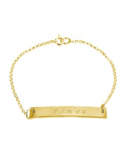 Name engraved bracelet in 14k yellow gold