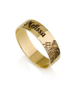 Name gold ring with finger print in 14k solid yellow gold