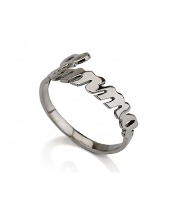 Custom elegant ring in 14k white gold - Any name