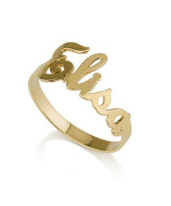 Name ring gold open style in 14k yellow gold up to 10 letters