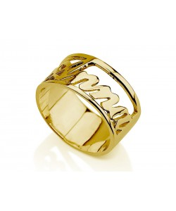 Nameplate ring 14k yellow gold any name or word