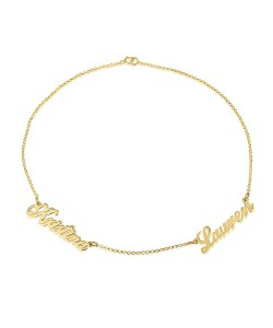 Necklace gift for her with two names in gold