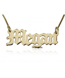 Gold chain necklace with name in Old english font. personalized jewelry in reasl solid gold.