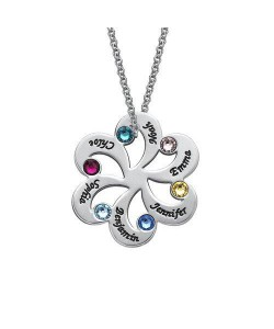 Sterling Silver Family Name Necklace with Birthstones