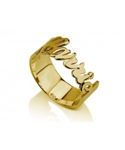 Name ring designed with gold