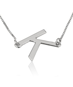 Personalized initial necklace in sterling silver - custom jewelry