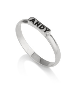Personalized name ring in 14k white gold black engraving name up to 10 letters