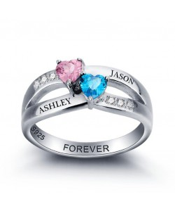 birthstones and 2 names ring