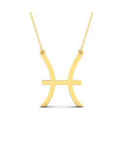Pisces zodiac sign necklace in yellow gold