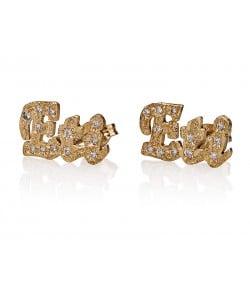 14 karat solid gold Plaid Swarovski Stud Earrings - PersJewel collection