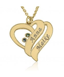 18k gold plated necklace with two names & swarovski stones
