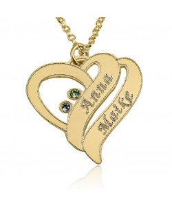 18k Gold Plated Love Necklace with Two Names Engraved & Swarovski Stones