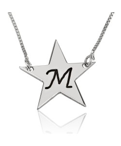 Sterling silver engraved one letter on a star pendant