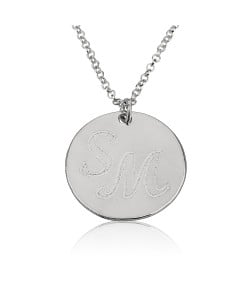 Sterling silver circle pendant with 3 letters engraved