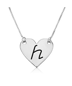 Heart pendant engraved with initial letter necklace