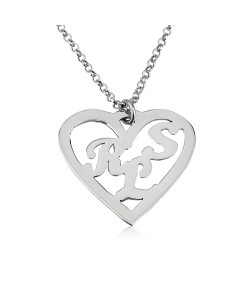 Sterling silver heart necklace shaped with 3 letters