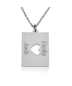 Sterling Silver Two names with middle heart