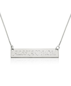 Personalized jewelry Bar Necklace in 14k Solid White Gold