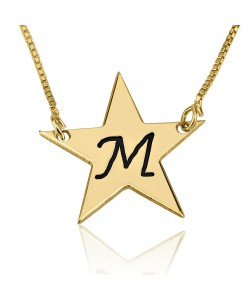 14k solid yellow gold star initial necklace