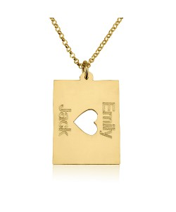 14k solid yellow gold two names with a middle heart