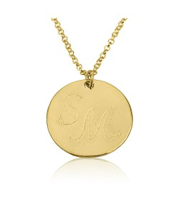 Round Pendant Necklace in 14k Yellow Gold