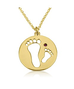 14k Solid Yellow Gold Baby Feet with Birthstone Name Necklace
