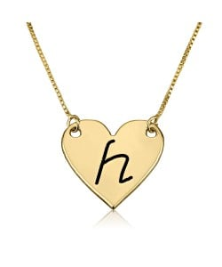 14k solid yellow gold initial letter engraved necklace
