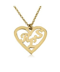 14k solid white gold heart necklace with 3 initials