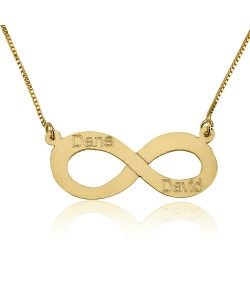 Solid Yellow Gold Personalized jewelry Infinity with 2 names