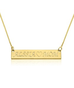Solid Yellow Gold Bar Engraved Name Necklace personalized jewelry