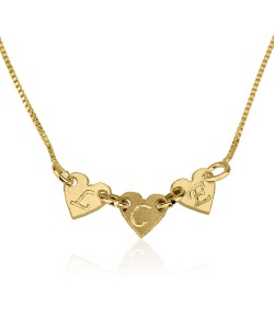 10k Solid Yellow Gold Personalized Initial's up to 3 Hearts