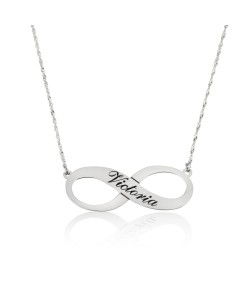 Personalized Solid white Gold Infinity Name Necklace