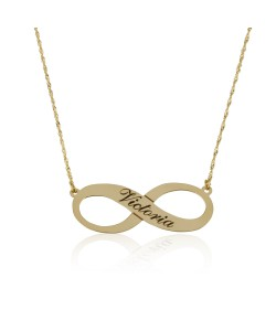 Personalized one name infinity yellow gold named necklace