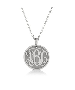 14k white gold Round Plate Monogram engraved Pendant Jewelry