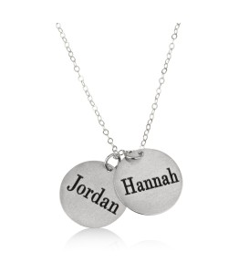 Two Names Round Plated Love Necklace White Gold Name Necklace
