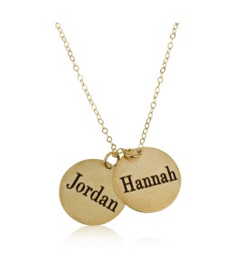 Two Names Round Plated Love Necklace Yellow Gold Name Necklace