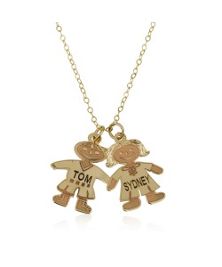 18k Solid Yellow gold Child (Boy or Girl) Engraved styled Mom Necklace