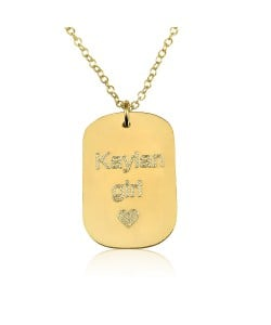 Disc engraved necklace custom jewelry in 10k solid gold