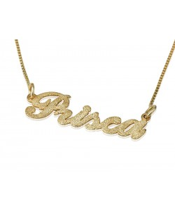 Real gold name necklace sparkling look in 14k yellow gold - Any name or word can be custom