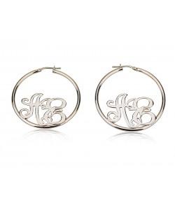 Resting-In-Hoop Monogram Earrings in 925 Silver