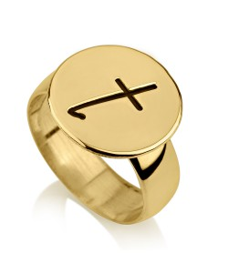 10k Gold Engraved Signet Ring with Name Initial