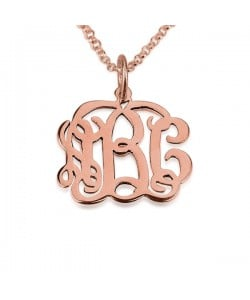 Rose Celebrity Monogram Pendant 18k Gold Plating