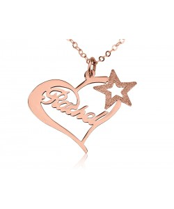 Rose Star Name Necklace 18k Gold Plating