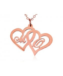 Lovers charm Rose Two Initial Letters Heart in heart 18k Solid Gold