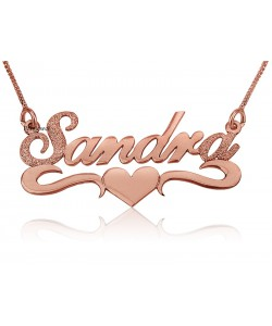 Rose gold heart necklace 14k gold pendant and chain