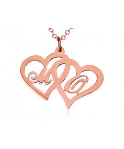 Rose gold initial necklace heart in heart - pendant and chain
